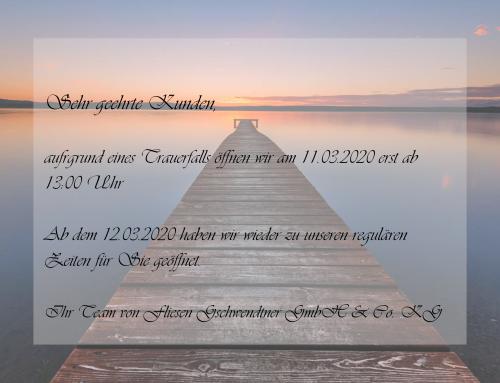 Sonderöffnungszeiten 11.03.2020