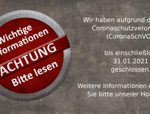 Öffnungszeiten Coronaschutzverordnung bis 31.01.2021